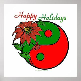 Christmas Yin Yang Poinsettia Poster