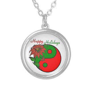 Christmas Yin Yang Poinsettia Silver Plated Necklace