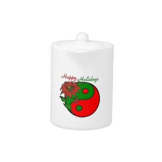 Christmas Yin Yang Poinsettia Teapot