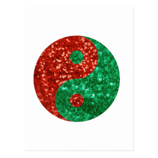 christmas yin yang postcard