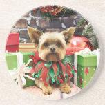 Christmas - Yorkie - Bentley Beverage Coaster