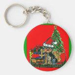 Christmas Yorkie Poo Keychain