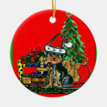 Christmas Yorkie Poo Double-Sided Ceramic Round Christmas Ornament