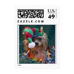 Christmas Yorkie Postage Stamp