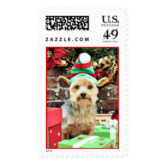 Christmas - Yorkie - Vinnie #32 Postage Stamp