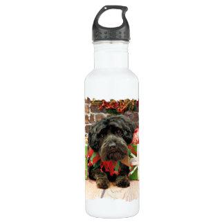 Christmas - YorkiePoo - Hannah Stainless Steel Water Bottle