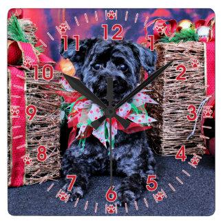 Christmas - YorkiePoo - Lucy Square Wall Clock
