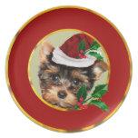 Christmas Yorkshire Terrier dog Dinner Plate