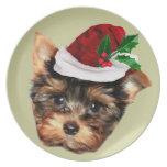 Christmas Yorkshire Terrier dog Dinner Plates