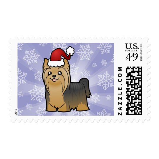 Christmas Yorkshire Terrier (long hair no bow) Postage
