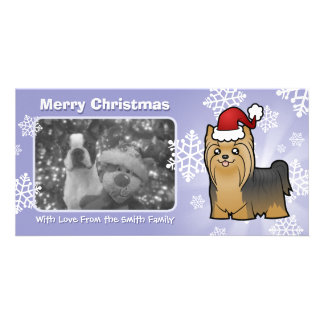 Christmas Yorkshire Terrier (long hair with bow) Card