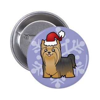 Christmas Yorkshire Terrier (long hair with bow) Pinback Button