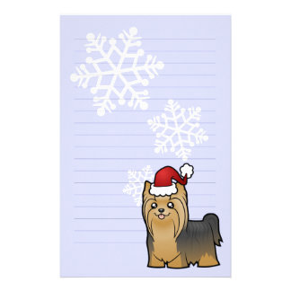 Christmas Yorkshire Terrier (long hair with bow) Stationery
