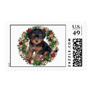 Christmas Yorkshire Terrier Puppy Postage Stamps