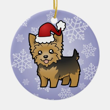 Christmas Yorkshire Terrier (short hair no bow) Ceramic Ornament