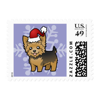 Christmas Yorkshire Terrier (short hair no bow) Stamp