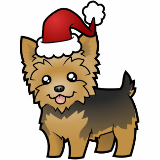 Christmas Yorkshire Terrier (short hair no bow) Statuette