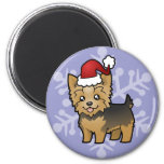 Christmas Yorkshire Terrier (short hair with bow) 2 Inch Round Magnet