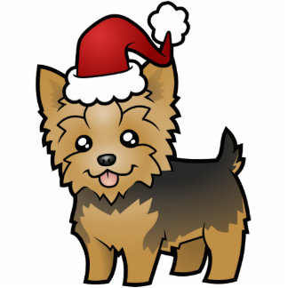Christmas Yorkshire Terrier (short hair with bow) Cutout