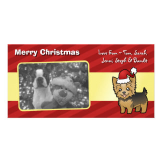 Christmas Yorkshire Terrier (short hair with bow) Photo Card
