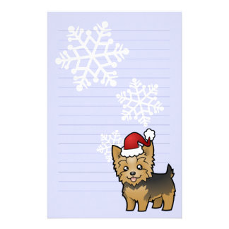 Christmas Yorkshire Terrier (short hair with bow) Stationery