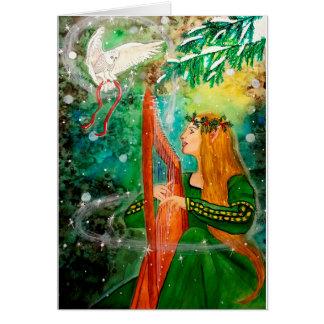 Christmas Yule Elf Maiden Harp, Owl Greeting Card