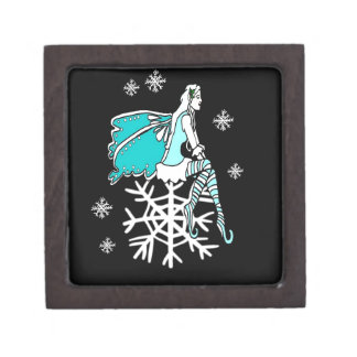 Christmas Yule Faerie and Snowflakes Premium Trinket Box