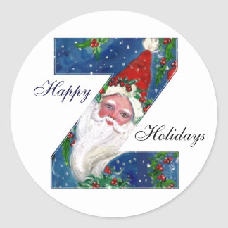 CHRISTMAS Z LETTER / SANTA CLAUS WITH RED RIBBON CLASSIC ROUND STICKER