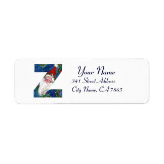 CHRISTMAS Z LETTER / SANTA CLAUS WITH RED RIBBON RETURN ADDRESS LABEL