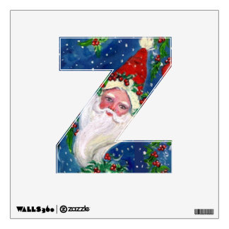 CHRISTMAS Z LETTER / SANTA CLAUS WITH RED RIBBON WALL DECAL