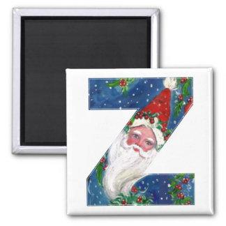 CHRISTMAS Z LETTER / SANTA  RED RIBBON MONOGRAM 2 INCH SQUARE MAGNET