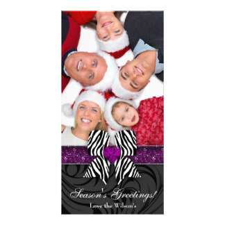 Christmas Zebra Bow Purple Glitter Jewelry Card