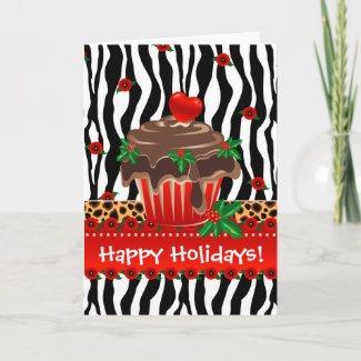 Christmas Zebra Cupcake Leopard Heart card