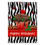 Christmas Zebra Cupcake Leopard Heart Greeting Card