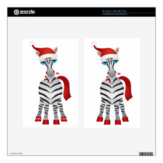 Christmas Zebra Illustration Kindle Fire Decals