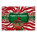 Christmas Zebra Leopard Heart Cupcake Ruby Greeting Card