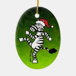 Christmas Zebra Double-Sided Oval Ceramic Christmas Ornament
