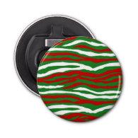 Christmas Zebra Stripes Button Bottle Opener