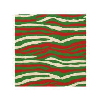 Christmas Zebra Stripes Wood Wall Decor