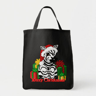 Christmas Zebra Tote Bag