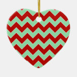 Christmas Zigzag Double-Sided Heart Ceramic Christmas Ornament