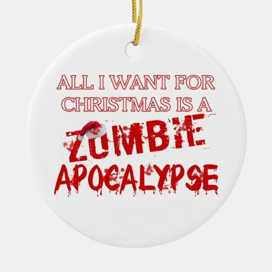 Christmas Zombie Apocalypse Ceramic Ornament