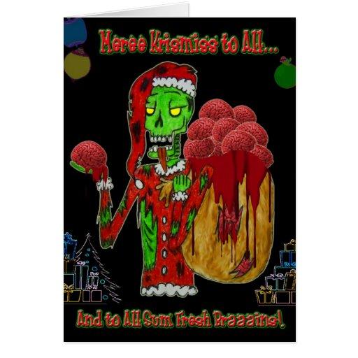 Christmas zombie greeting card zazzle