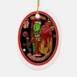 christmas zombie ornament_oval Double-Sided oval ceramic christmas ornament