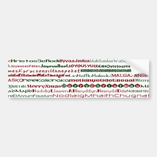 ChristmasAroundTheWorld TextDesign BumperSticker Car Bumper Sticker