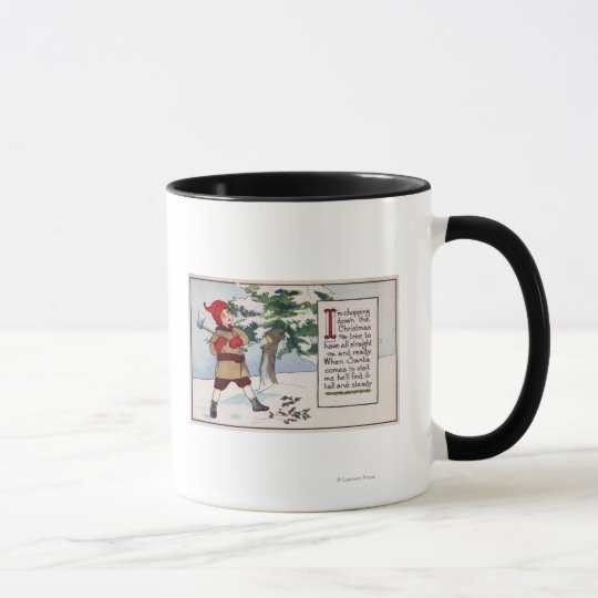 ChristmasBoy Chopping Down Christmas Tree Mug