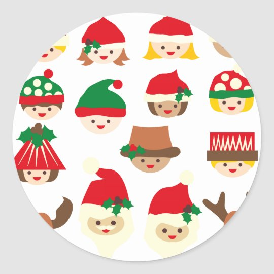 ChristmasFace2 Classic Round Sticker
