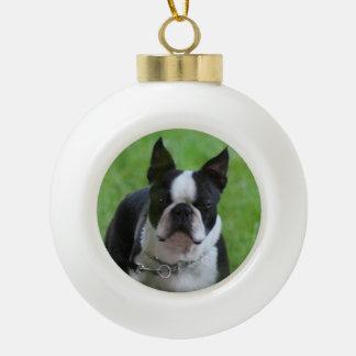 Christmasn boston terrier Dog Round Ornament