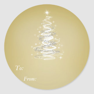 Christmass Tree Golden Sticker - To:, From: