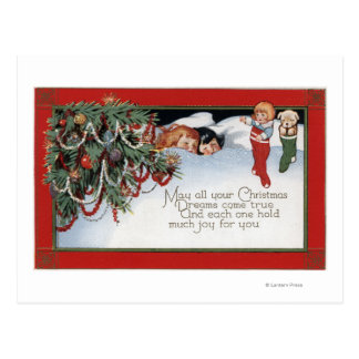 ChristmasSleeping Children and a Poem Postcard